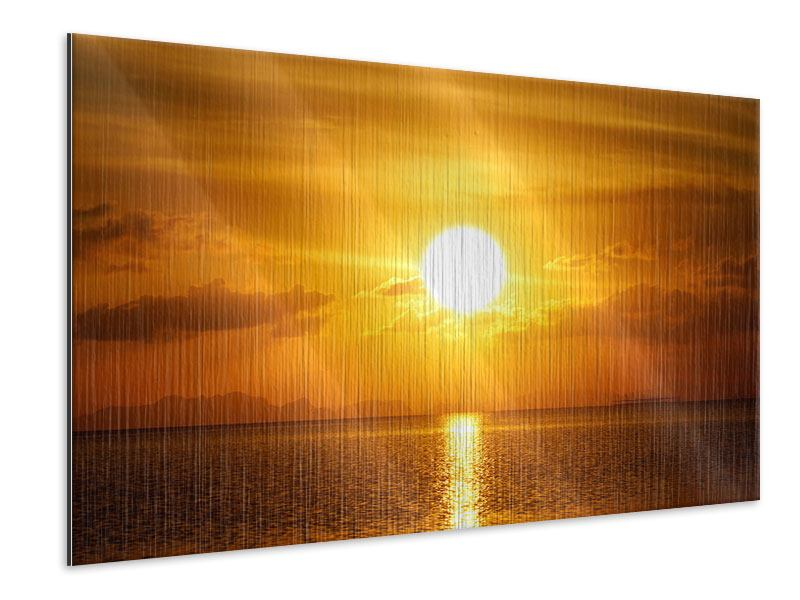 Metallic-Bild Sonnenuntergang See