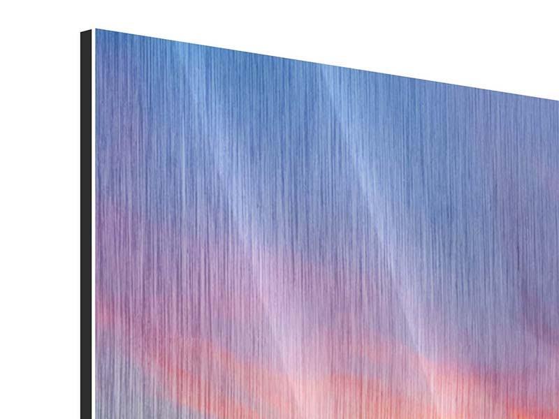 Metallic-Bild Die romantische Brücke bei Sonnenuntergang