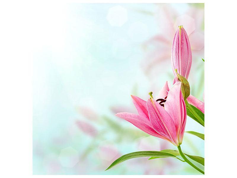 Metallic-Bild Romantische Lilien