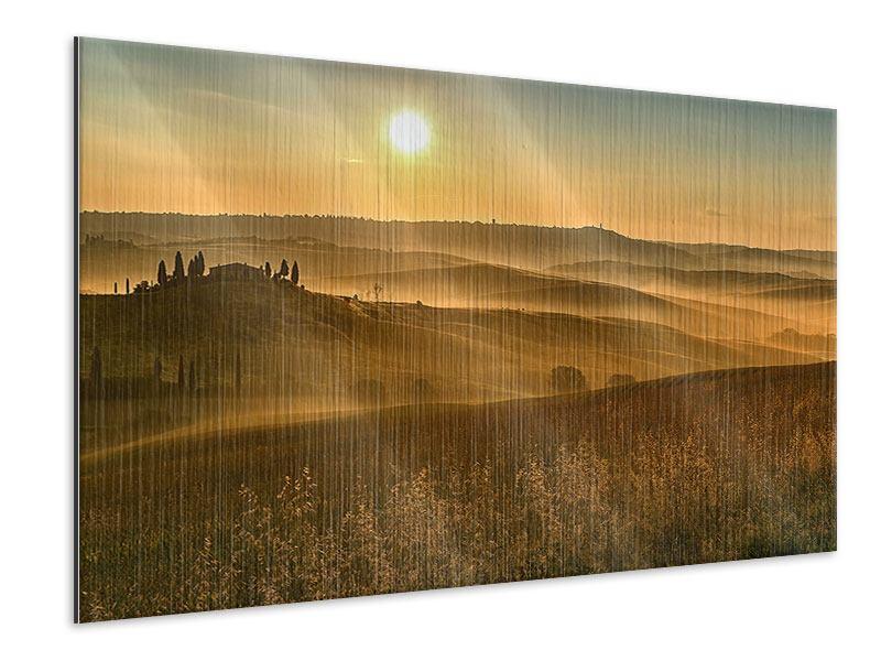 Metallic-Bild Sonnenuntergang im Gebirge