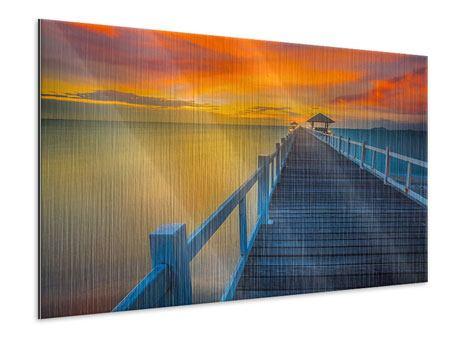 Metallic-Bild Eine Holzbrücke im fernen Osten