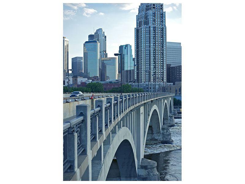 Metallic-Bild Die Brücke zur Grossstadt
