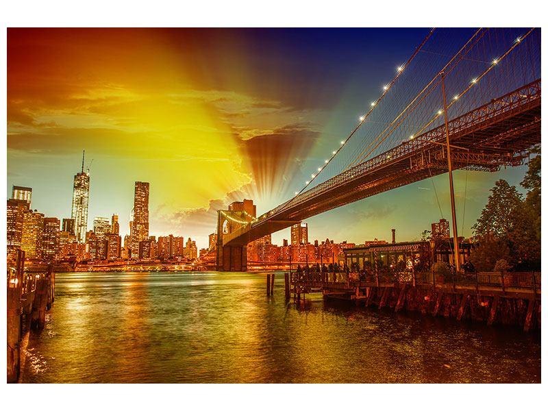 Metallic-Bild Skyline Brooklyn Bridge NY
