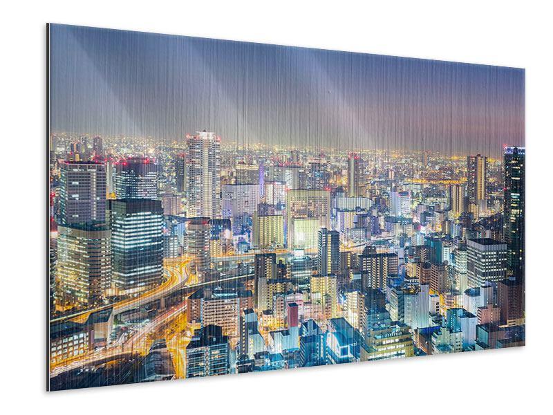 Metallic-Bild Skyline Osaka bei Sonnenuntergang