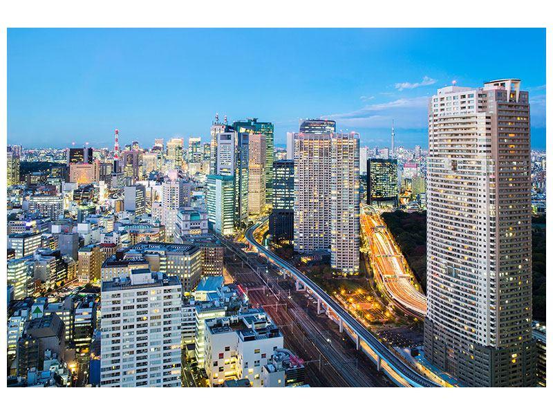 Metallic-Bild Skyline Tokio im Lichtermeer