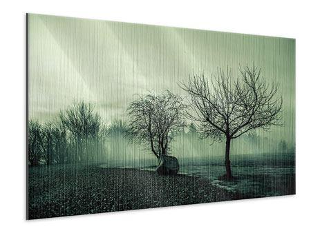 Metallic-Bild Der Auwald im Nebel