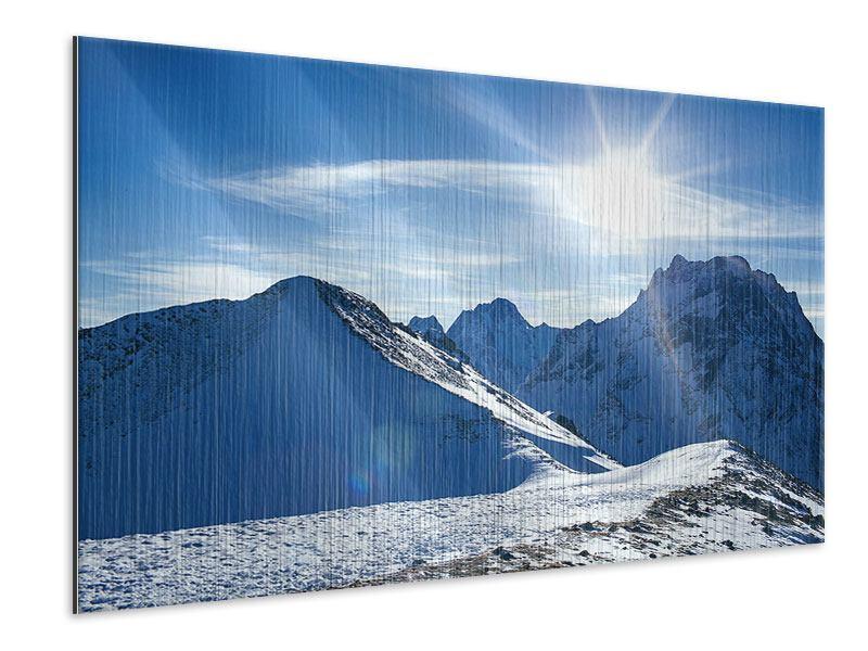 Metallic-Bild Der Berg im Schnee