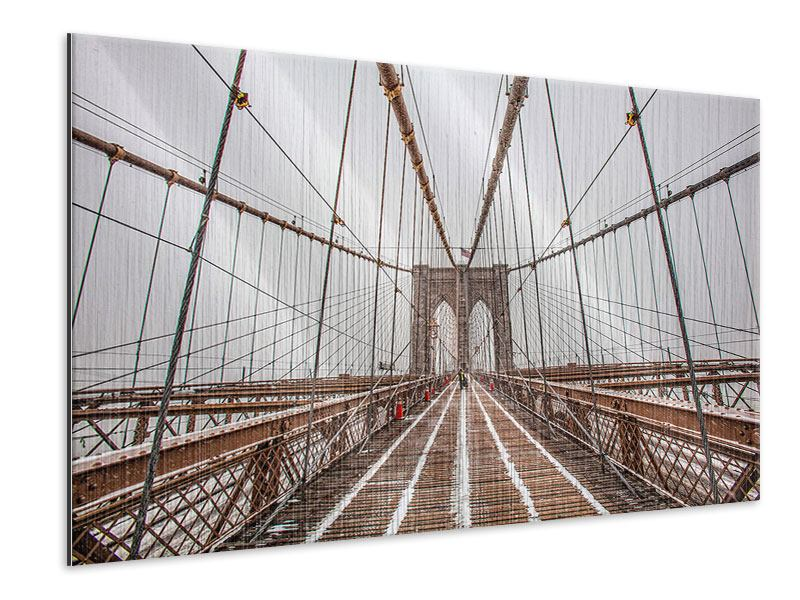 Metallic-Bild Auf der Brooklyn Bridge