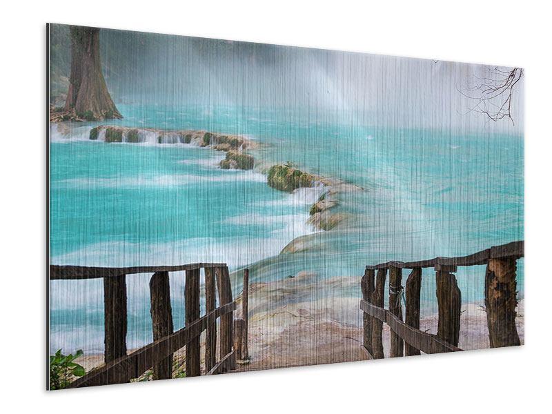 Metallic-Bild Haus am Wasserfall
