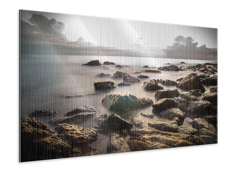 Metallic-Bild Steine am Strand