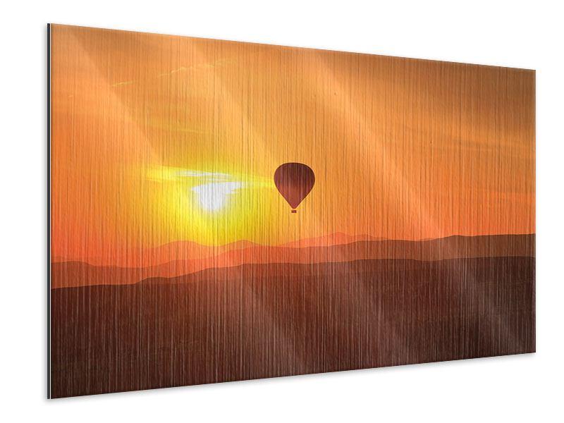 Metallic-Bild Heissluftballon bei Sonnenuntergang