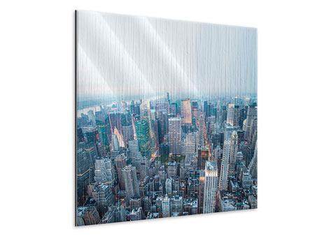 Metallic-Bild Skyline Manhattan in der Abenddämmerung