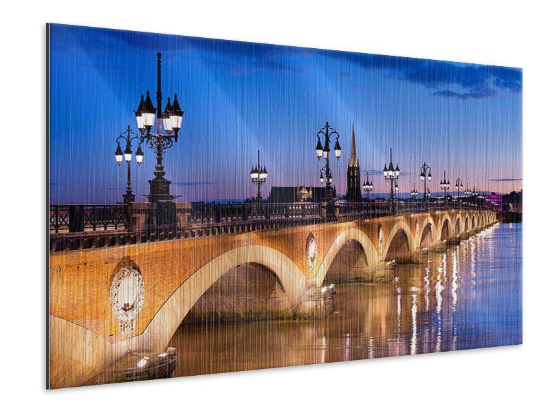 Metallic-Bild Pont De Pierre bei Sonnenuntergang