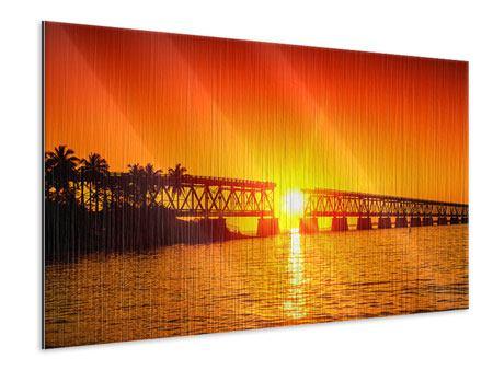 Metallic-Bild Sonnenuntergang an der Brücke