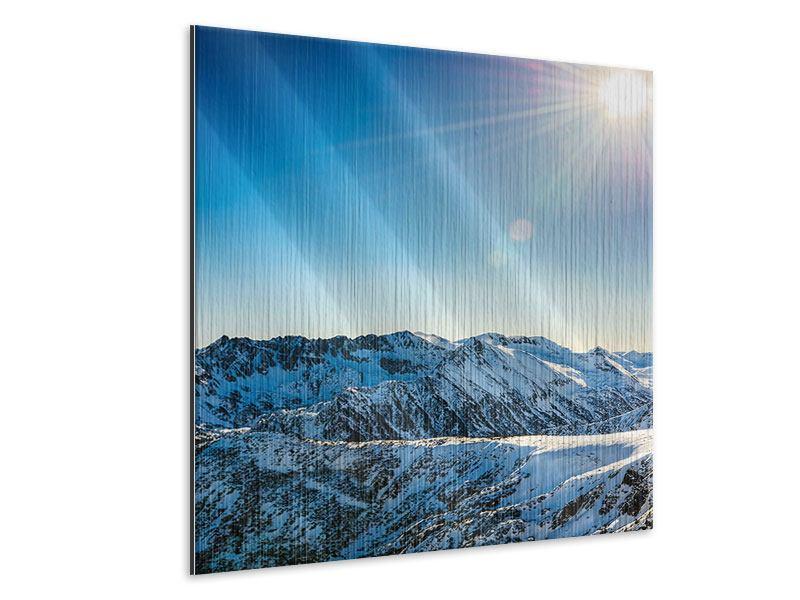 Metallic-Bild Berge im Schnee