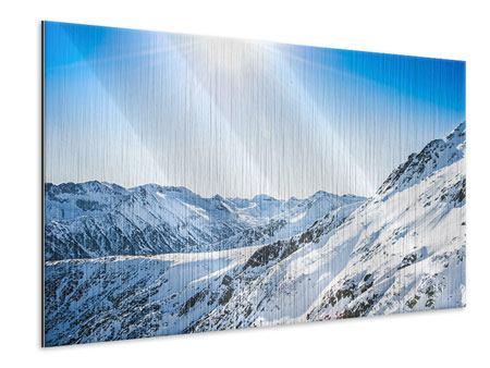 Metallic-Bild Bergpanorama im Schnee