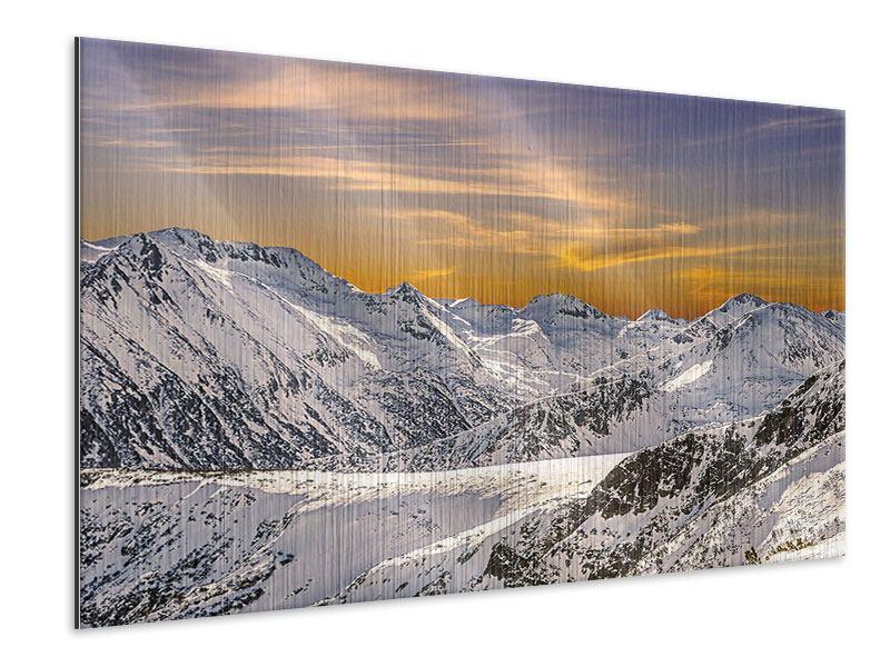 Metallic-Bild Sonnenuntergang in den Bergen