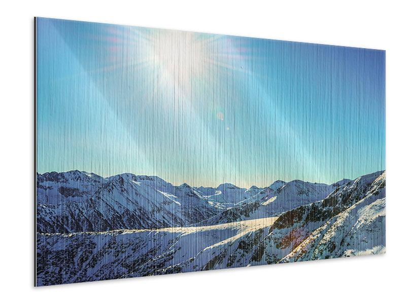 Metallic-Bild Sonnige Berggipfel im Schnee
