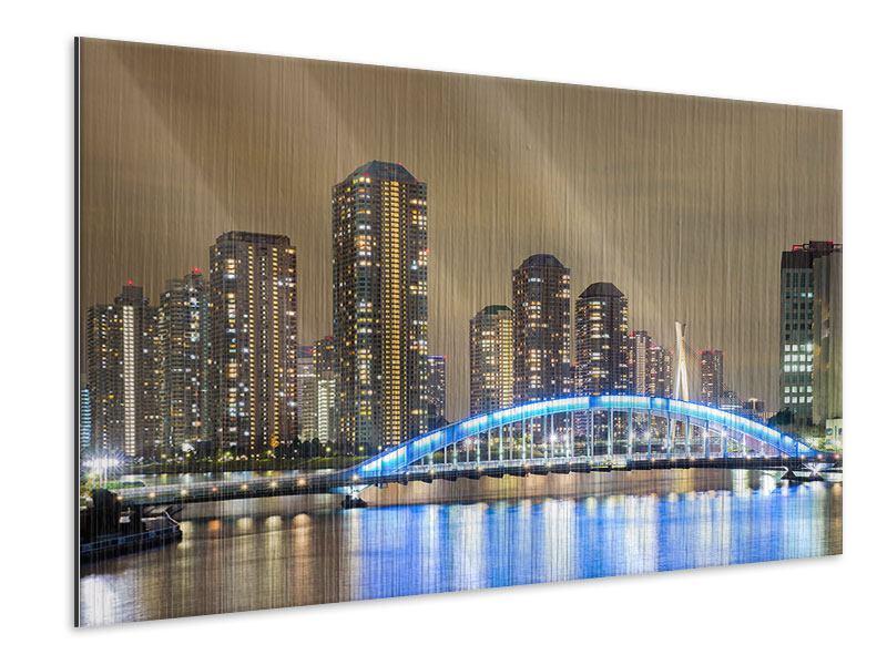 Metallic-Bild Skyline Tokio in der Nacht