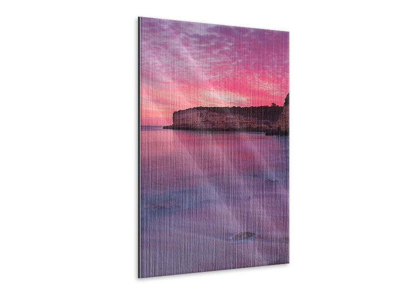 Metallic-Bild Feuriger Sonnenuntergang am Meer