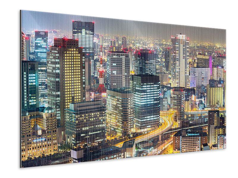 Metallic-Bild Skyline Osaka im Lichtermeer