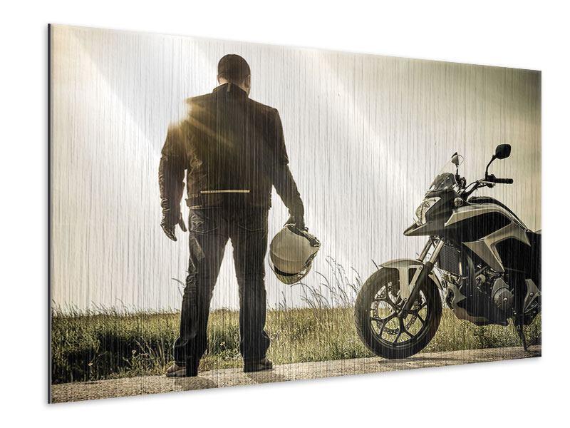 Metallic-Bild Biker in der Abenddämmerung