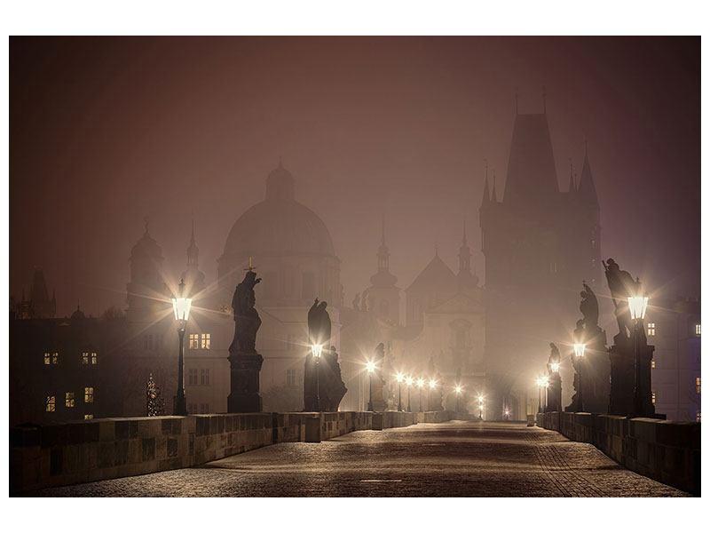 Metallic-Bild Die Karlsbrücke bei Nacht