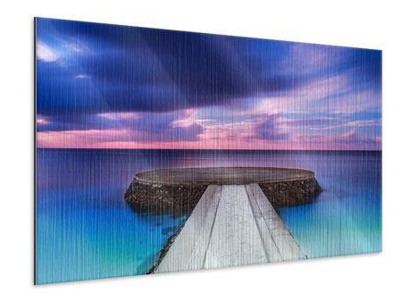 Metallic-Bild Meditation am Meer