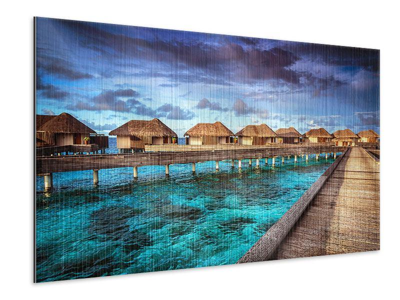 Metallic-Bild Traumhaus im Wasser