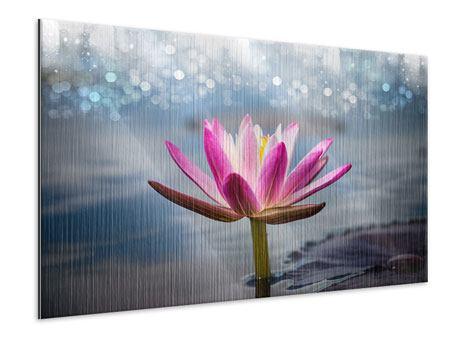 Metallic-Bild Lotus im Morgentau