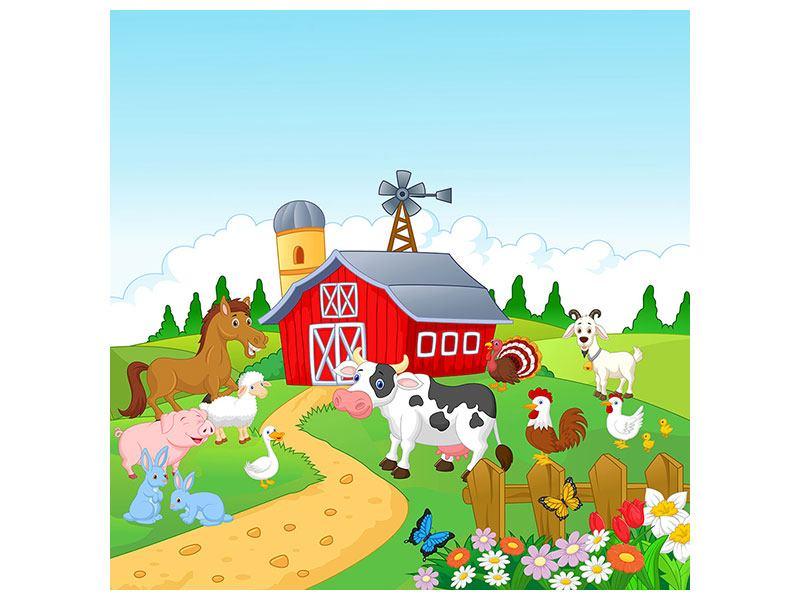 Metallic-Bild Der lustige Bauernhof