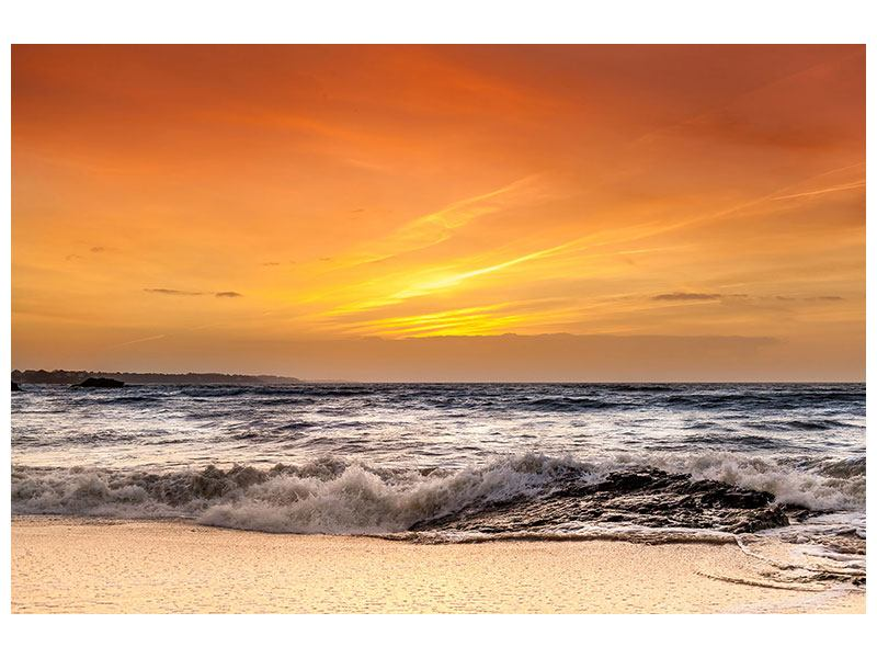 Metallic-Bild See mit Sonnenuntergang