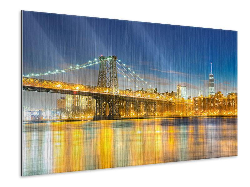Metallic-Bild Brooklyn Bridge bei Nacht