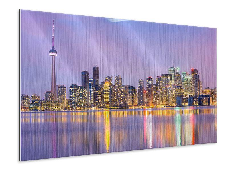 Metallic-Bild Skyline Toronto bei Nacht