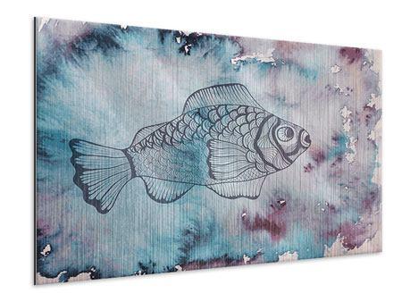 Metallic-Bild Fisch-Aquarell