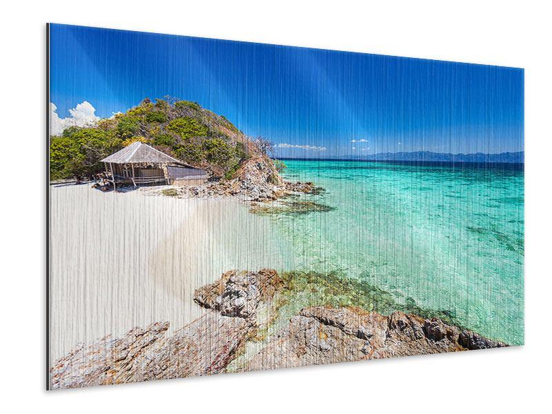 Metallic-Bild Das Haus am Strand