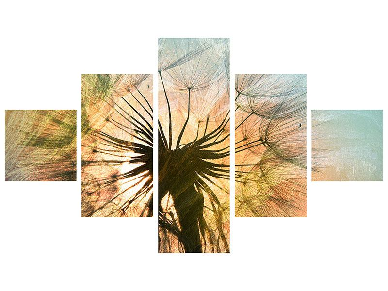 Metallic-Bild 5-teilig XXL Pusteblume
