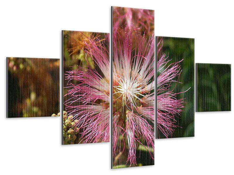 Metallic-Bild 5-teilig Die Regenbaumblüte