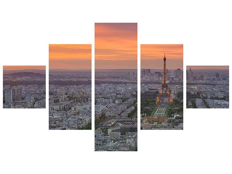 Metallic-Bild 5-teilig Skyline Paris bei Sonnenuntergang