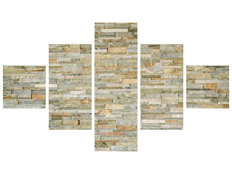 Metallic-Bild 5-teilig Edle Steinmauer