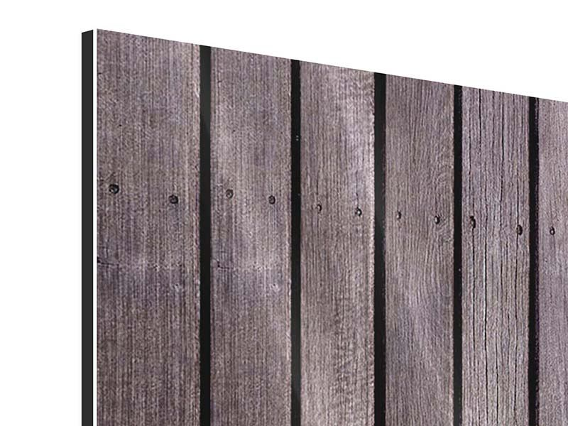 Metallic-Bild 5-teilig Holzwand