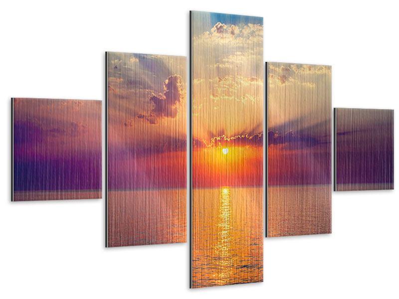 Metallic-Bild 5-teilig Mystischer Sonnenaufgang