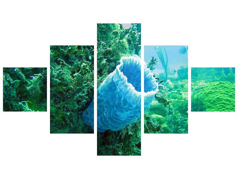 Metallic-Bild 5-teilig Korallen