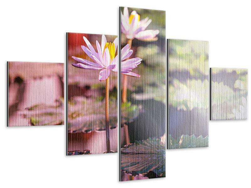 Metallic-Bild 5-teilig Seerosen im Teich