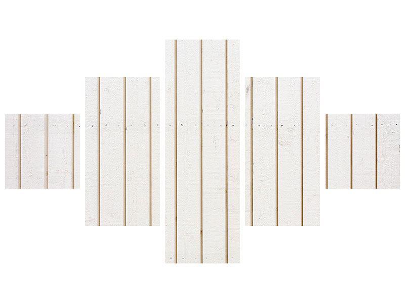 Metallic-Bild 5-teilig Mediterranes Holz