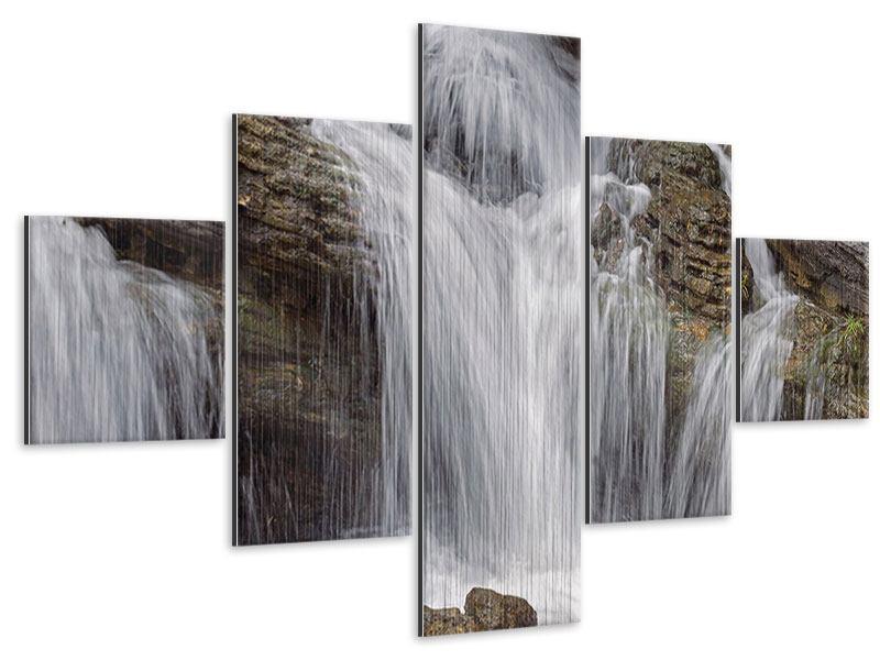 Metallic-Bild 5-teilig Wasserfall XXL