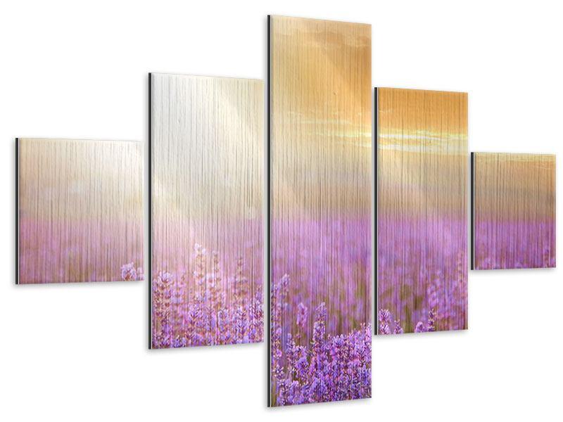 Metallic-Bild 5-teilig Sonnenuntergang beim Lavendelfeld