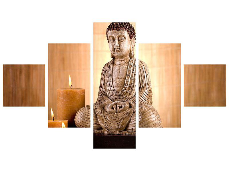 Metallic-Bild 5-teilig Buddha in der Meditation