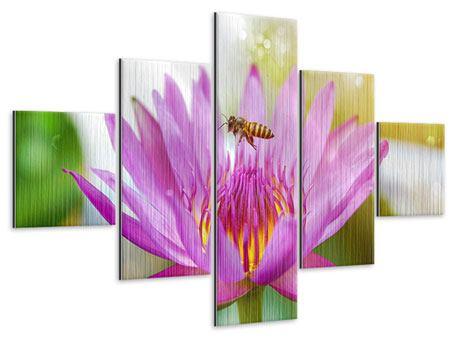 Metallic-Bild 5-teilig Die Lotus mit Biene