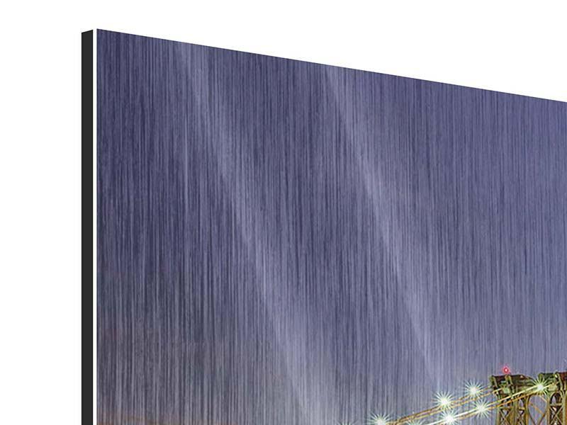 Metallic-Bild 5-teilig Skyline NY Williamsburg Bridge